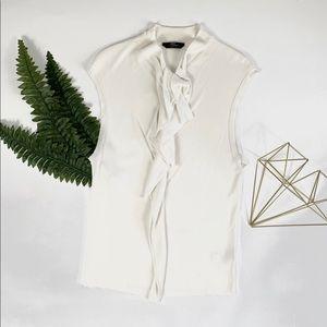 BOSS Hugo Boss off white work blouse sleeveless lg